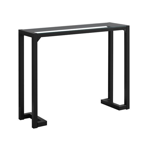 """Table d'appoint Monarch, 42"""" x 32"""", verre, noir"""