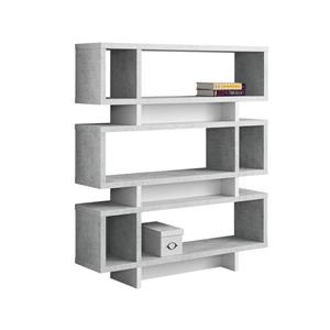 Monarch 47.25 x 54.75-in Wood Gray Bookcase