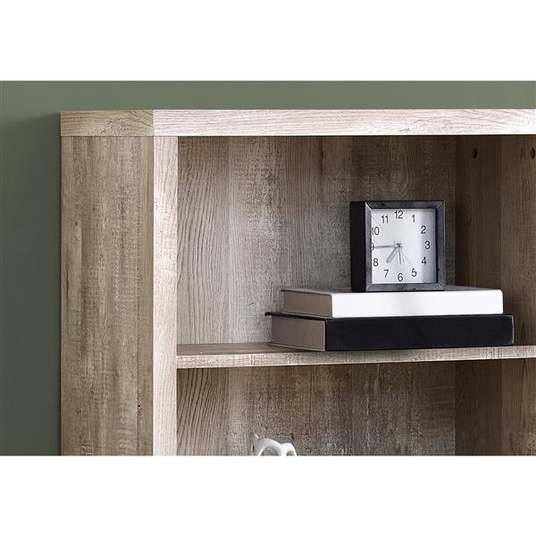 Monarch 47.5-in x 23.75-in x 11.75-in Taupe Wood Bookcase