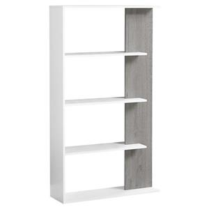 Monarch 55.75-in x 31.5-in x 9-in White-Gray Wood Bookcase