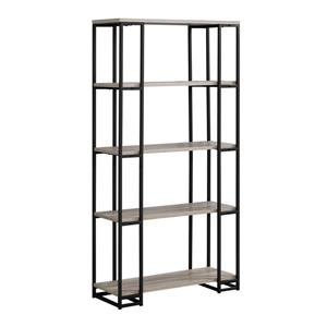 Monarch 62-in x 32-in x 12.5-in Dark Taupe Reclaimed Wood Look Bookcase