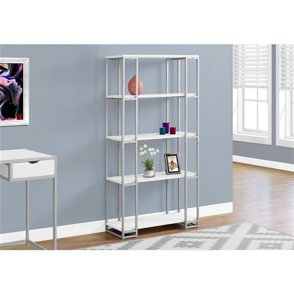 Monarch 62-in x 32-in x 12.5-in White Bookcase