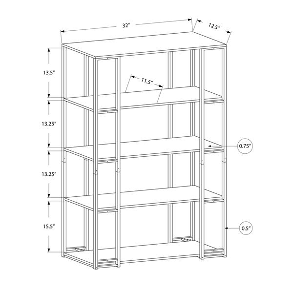 Monarch 61-in x 32-in x 12.5-in Black Metal Bookcase