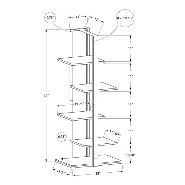 Monarch 60-in x 13-in Brown Metal Bookcase