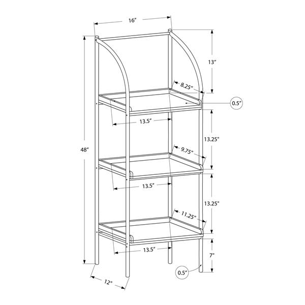 Monarch 16-in x 48-in x 12-in Metal - Brown Bookcase