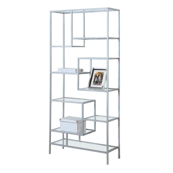 Monarch 72-in x 32-in x 12-in Silver Metal Bookcase