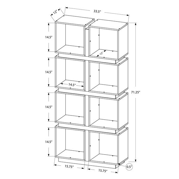 Monarch 71.25-in x 33.5-in x 12-in Dark Taupe Reclaimed Wood Look Bookcase