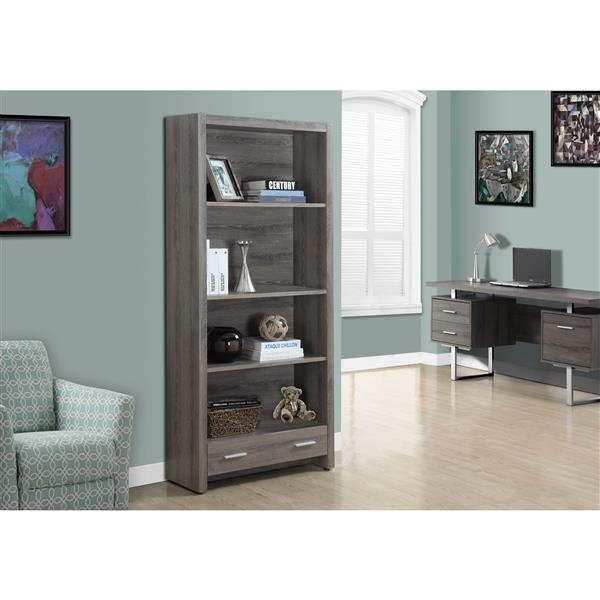 Monarch 71.25-in x 31.5 x 12-in Dark Taupe Reclaimed Wood Look Bookcase