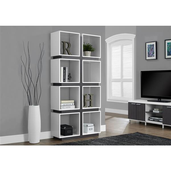 Monarch 71.25-in x 33.5-in x 12-in White-Gray Bookcase