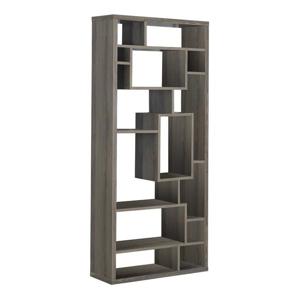 Monarch 72-in x 31.5-in x 11.75-in Dark Taupe Reclaimed Wood Look Bookcase