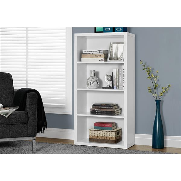 Monarch 47.5-in x 23.75-in x 11.75-in White Wood Bookcase
