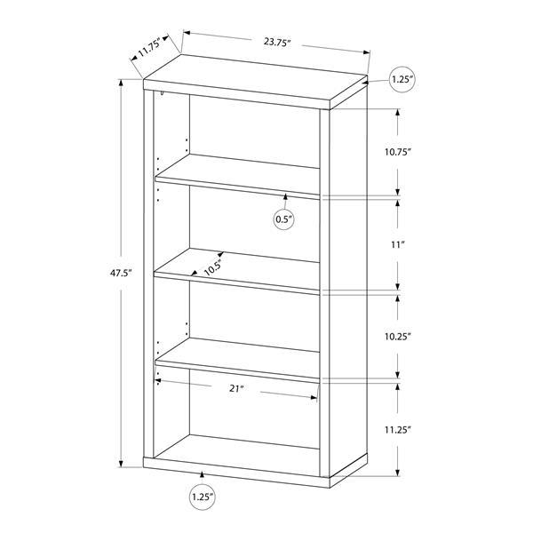Monarch 23.75 x 47.5-in Wood Dark Taupe Bookcase