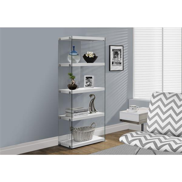 Monarch 58.75-in x 24-in x 12-in Glossy White Glass Sides Bookcase