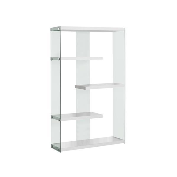 Monarch 36-in x 58.75-in Glass White Bookcase
