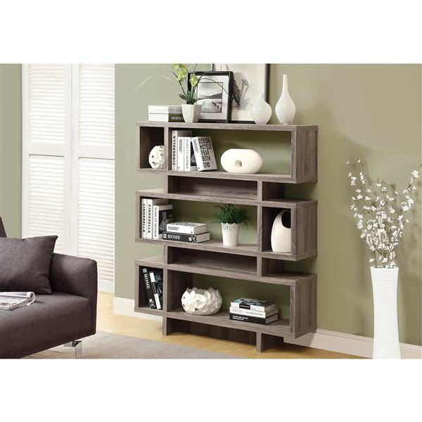 Monarch 47.25 x 54.75-in Wood Dark Taupe Bookcase