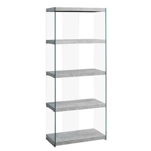 Monarch 58.75-in x 24-in x 12-in Gray Cement Look Glass Sides Bookcase