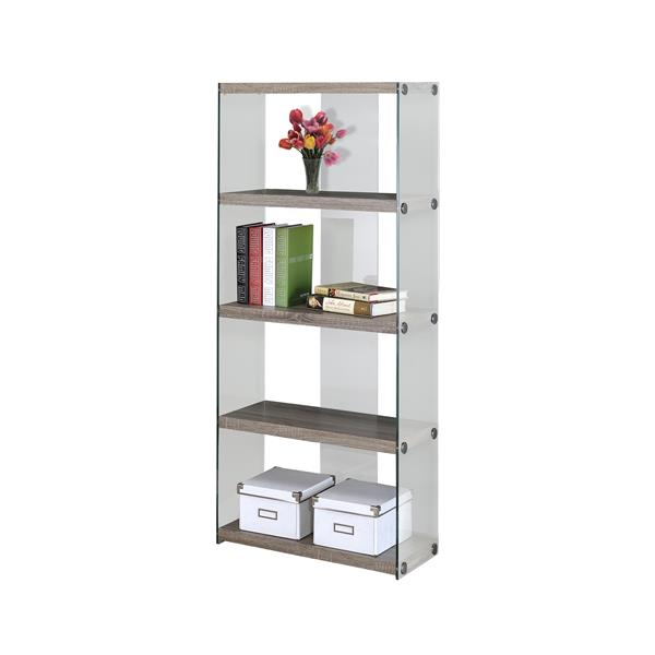 Monarch 58.75-in x 24-in x 12-in Dark Taupe Reclaimed Wood Look Glass Sides Bookcase