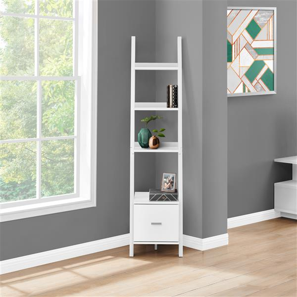 Monarch 16.5-in x 17-in x 69-in Wood White Bookcase