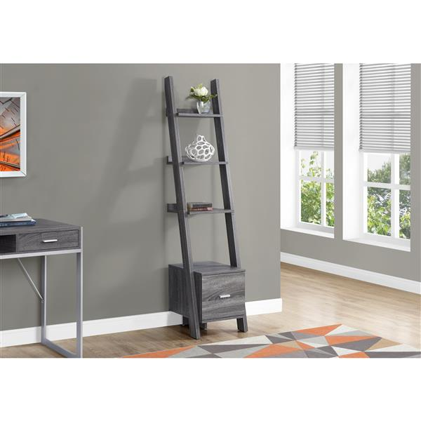 Monarch Corner Etagere with Drawer - 69-in - Wood - Gray