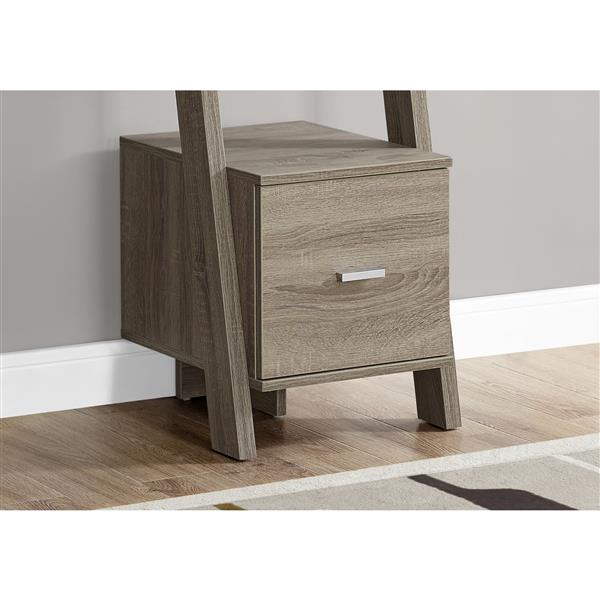 Monarch Corner Etagere with Drawer - 69-in - Wood - Dark Taupe