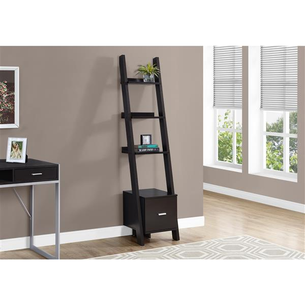 "Monarch Ladder Bookcase with Drawer - 69"" - Cappuccino"