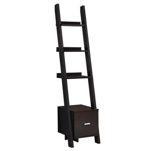Monarch 16.5-in x 17-in x 69-in Wood Brown Ladder Bookcase