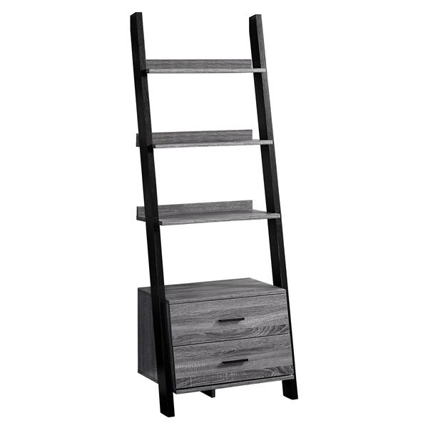Monarch 69-in x 25.5-in x 16.75-in Gray-Black Reclaimed Wood Look Bookcase
