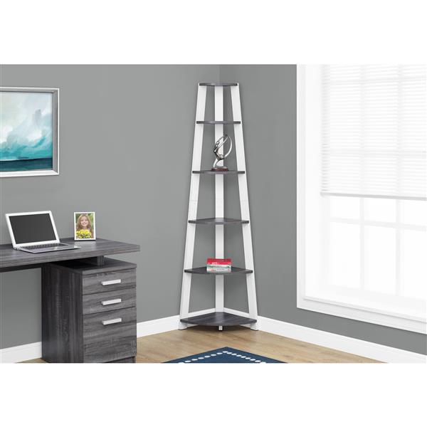 Monarch 71.25-in x 22.5-in x 15.5-in Gray Wood Bookcase
