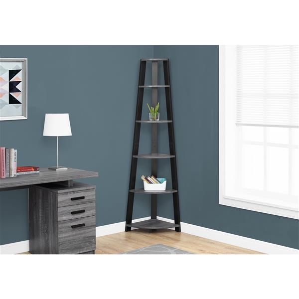 Monarch 71-in x 23-in x 16.5-in Gray-Black Wood Bookcase
