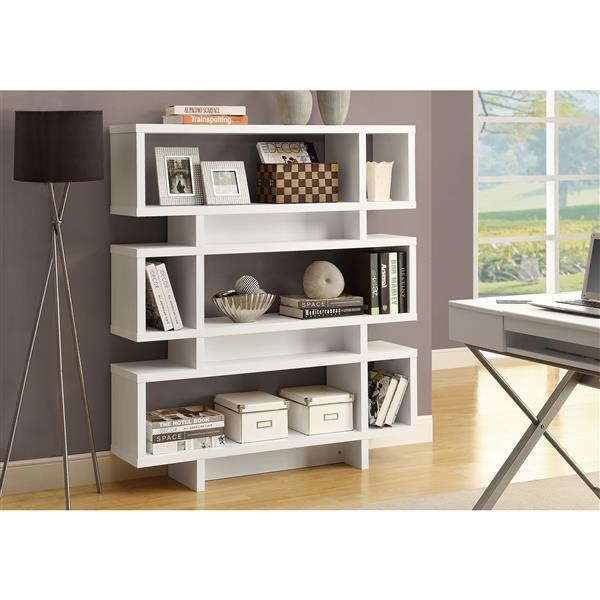 Monarch 47.25 x 54.75-in Wood White Bookcase