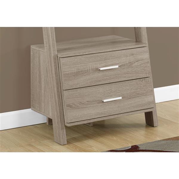 Monarch 69-in x 25.5-in x 16.75-in Dark Taupe Reclaimed Wood Look Bookcase