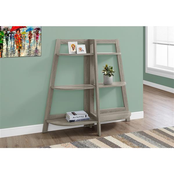 Monarch 51 x 47-in Wood Dark Taupe Bookcase