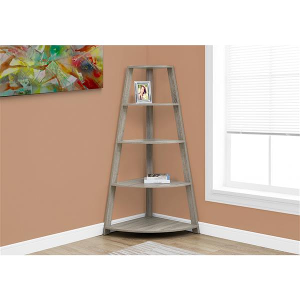 Monarch 60-in x 34.25-in x 24.25-in Dark Taupe Wood Bookcase