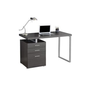 """Bureau d'ordinateur Monarch, 47,25"""" x 30"""", métal, gris"""
