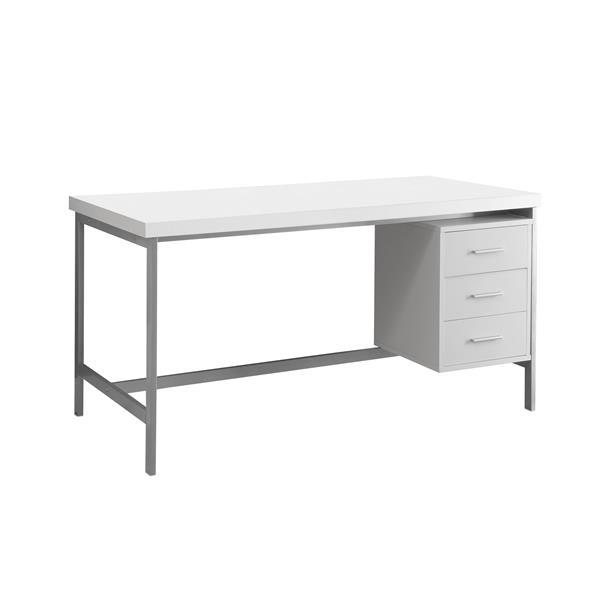 """Bureau d'ordinateur Monarch, 60"""" x 31"""", métal, blanc"""