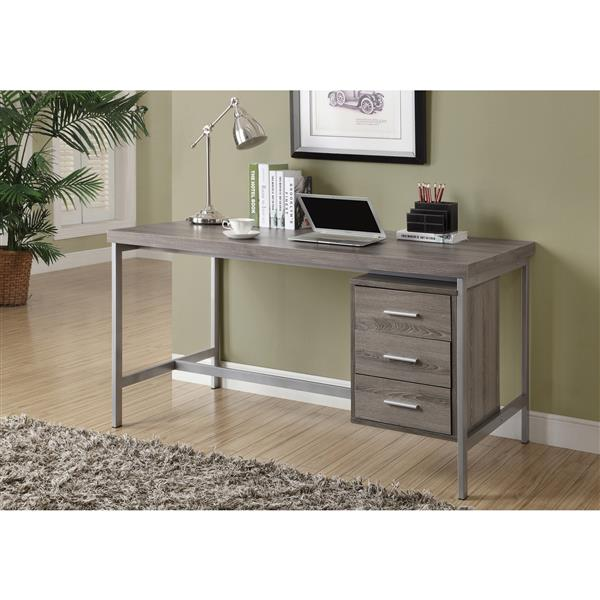 Monarch Specialties 60-in x 31-in Dark Taupe Office Desk