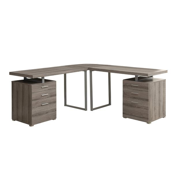 Monarch Specialties Dark Taupe Hollow Core L-Shaped Desk