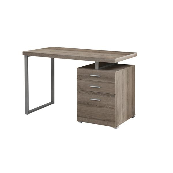 Monarch Specialties Monarch 47.25-In x 30.00-In  Dark Taupe Reclaimed Wood Look Computer Desk