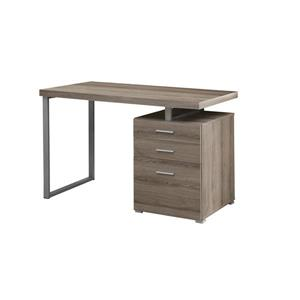 Monarch Specialties Monarch 47.25-In x 30.00-In  Dark Taupe Reclaimed Wood Look Computer Desk