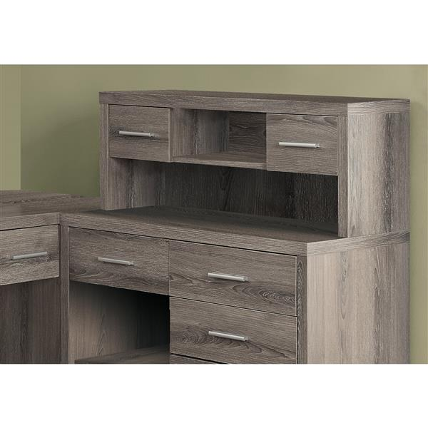 Monarch Specialties 62.75-in x 44.75-in dark Taupe L-Shaped Home Office Desk