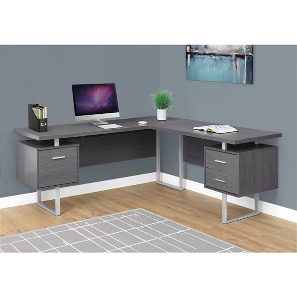 """Bureau d'ordinateur Monarch, 71"""", métal, gris"""
