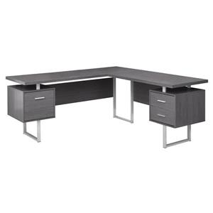 "Bureau d'ordinateur Monarch, 71"", métal, gris"