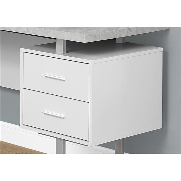 Monarch Specialties 71-in x 30-in Cement/White L-Shaped Computer Desk