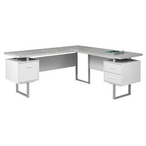 Monarch  71-in x 30-in Cement/White L-Shaped Computer Desk