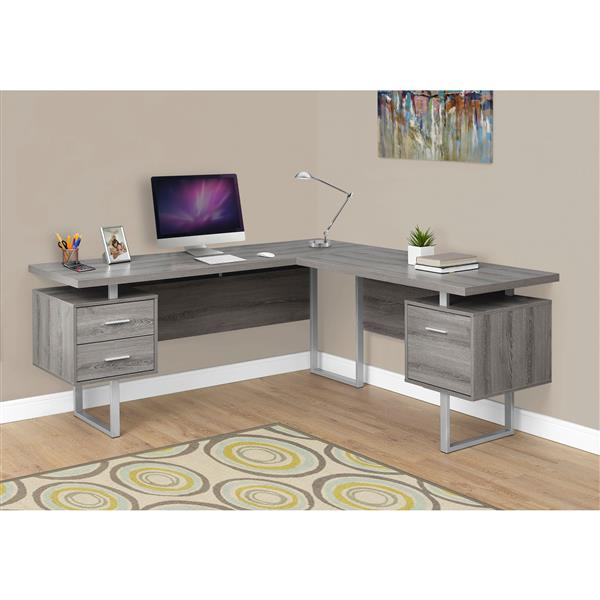 Monarch Specialties 71-in x 30-in Dark Taupe L-Shaped Computer Desk