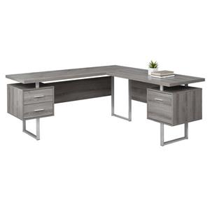 Monarch  71-in x 30-in Dark Taupe L-Shaped Computer Desk
