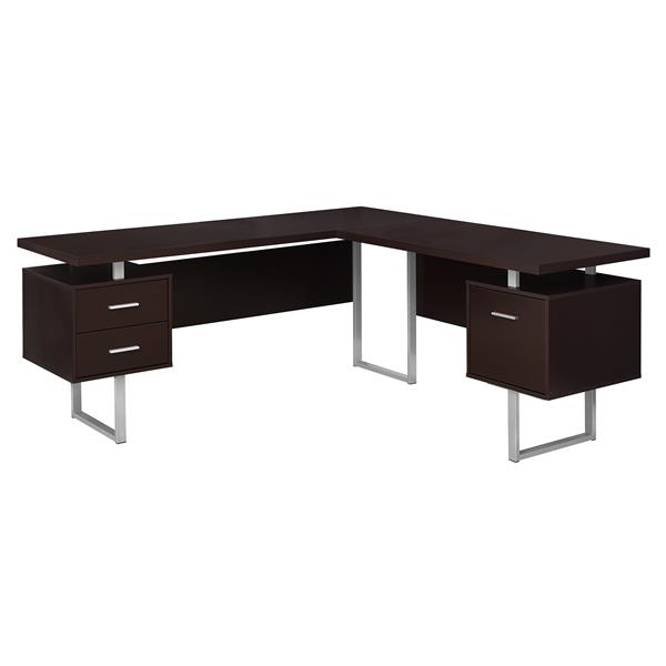 Monarch Specialties 71-in x 30-in Capuccino L-Shaped Computer Desk