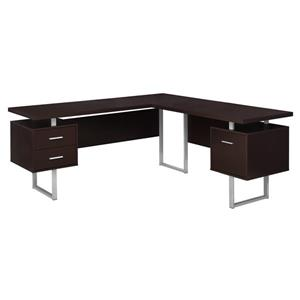 Monarch  71-in x 30-in Capuccino L-Shaped Computer Desk
