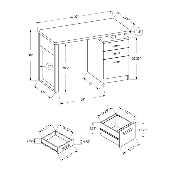 "Bureau d'ordinateur Monarch, 47,25"", métal, gris"