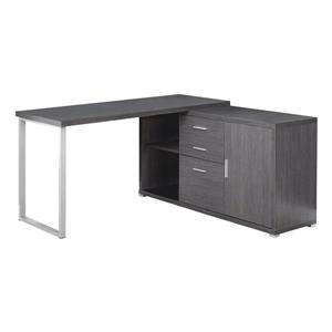 Monarch Specialties 57-in x 29.75-in Grey Wood-Look L-Shaped Computer Desk